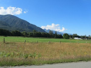 Beautiful famland with Cascade foothills in background